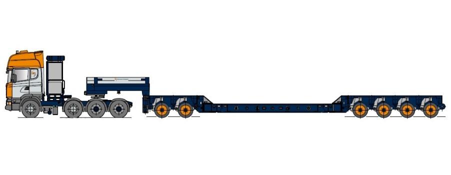 Vehicul cu platformă tip cazan, cu modul de axe și suporți de montare