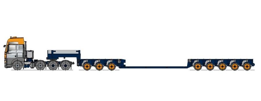 Remorcă cu platformă joasă, cu modul de axe, extensibilă