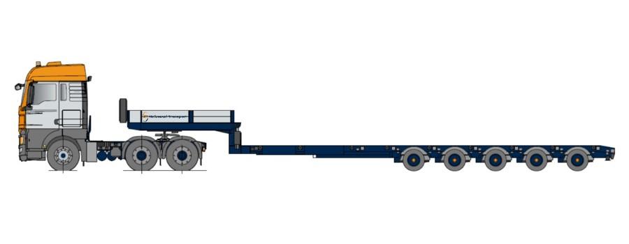 Semi-remorcă cu platformă joasă, multi-extensibil