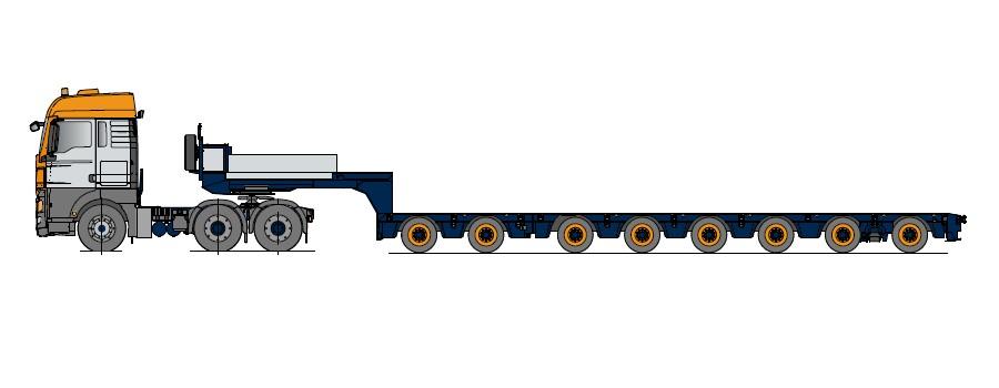 Semi-remorcă cu platformă joasă cu 8 axe, multi-extensibilă